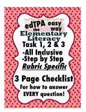 edTPA Elementary Literacy Complete Checklist for all 15 Ru