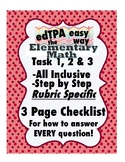 edTPA Elementary Math Complete Checklist for all 15 Rubrics: Goal Level 3/4