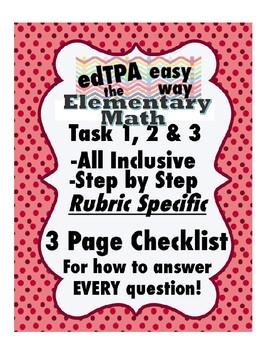 edTPA Elementary Math Complete Checklist for all 15 Rubrics: Goal Level 3/4