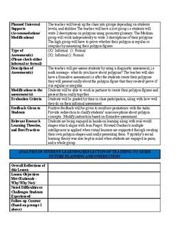 edTPA Lesson Plan: 3rd Grade Polygon Lesson