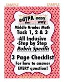 edTPA Middle Grades Math Rubric Level Progression Checklist: Rubric 8 FREEBIE