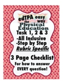 edTPA Physical Education Complete Checklist for all 15 Rubrics: Goal Level 3/4
