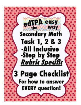 edTPA Secondary Math Complete Checklist for all 15 Rubrics: Goal Level 3/4