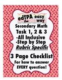edTPA Secondary Math Complete Checklist for all 15 Rubrics