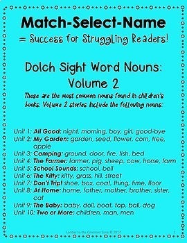 BUNDLE! 95 Dolch Nouns READING INTERVENTION (Down Syndrome, special ed & more)