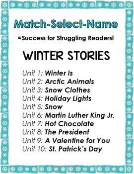 Winter, Reading Intervention, MATCH-SELECT-NAME (Down Syndrome, autism and more)