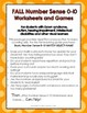 FALL Basic Number Sense 0-10, Worksheets and Games, Down Syndrome, Spec. Ed.