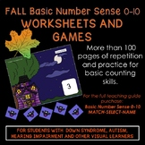 FALL Basic Number Sense 0-10, Worksheets and Games, Down S