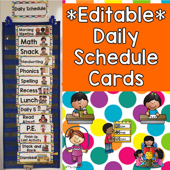 EDITABLE Daily Schedule Cards- Colorful Dots
