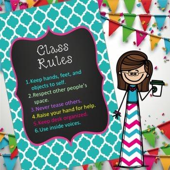 editable Class Rules Wall sign 17 X 11