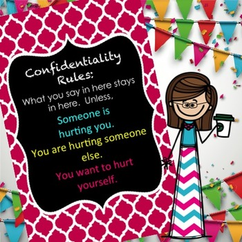 editable Confidentiality Rules Wall sign 17 X 11 for Counselors