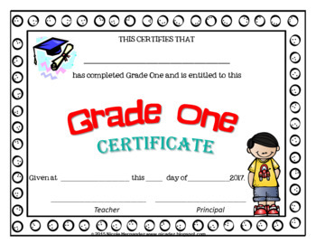 EDITABLE End of Year Certificates - First Grade Version