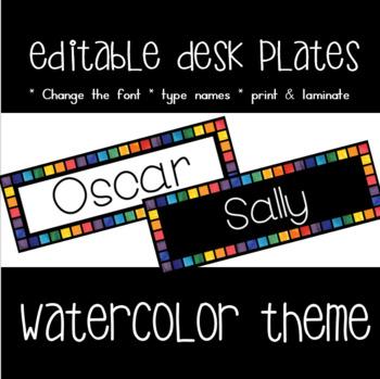 editable NAME DESK PLATES   ~  watercolor theme display