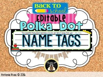 editable Polka Dot Name Plates {with inspirational quotes}