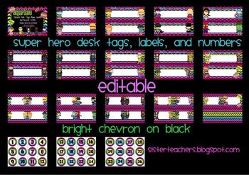 editable Super Hero Desk Tags, Labels, & Number Circles: bright chevron on black