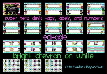 editable Super Hero Desk Tags, Labels, & Number Circles: bright chevron on white