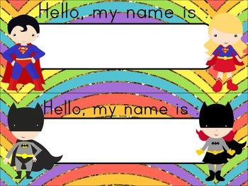 editable Super Hero Desk Tags, Labels, & Number Circles: glittery rainbow