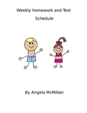 editable beach themed homework and test schedule
