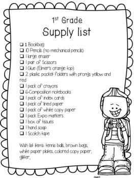 Editable School Supply List FREE