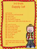 school supply list FREE
