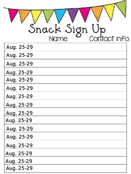 editable snack signup sheet
