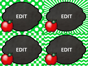 editable task cards, labels and pennant banner: apple theme