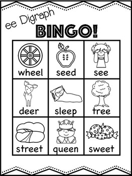 ee Vowel Digraph Bingo [10 playing cards]