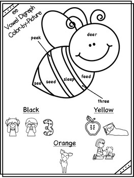 ee Vowel Digraph Color-by-Picture