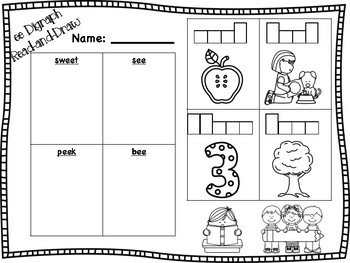 ee Vowel Digraph Read-and-Draw