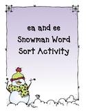 ee and ea Snowman Word Sort Activity