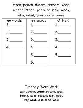 ee and ea words Spelling Homework Packet