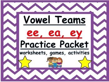 ee, ea, ey vowel teams practice packet: worksheets, games,