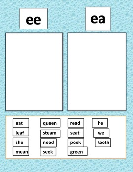 ee ea word sort