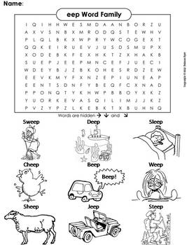 eep Word Family Word Search/ Coloring Sheet (Phonics Worksheet)