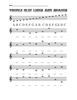 eight worksheets on treble and bass clef lines and spaces including ledger lines