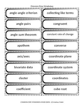 eighth grade common core standards vocabulary cards Math ELA