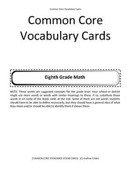 eighth grade common core standards vocabulary cards Math ELA