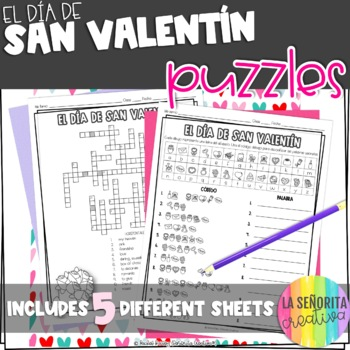 el Día de San Valentín Vocab Puzzles (Valentine's Day Wordsearch and Crossword)