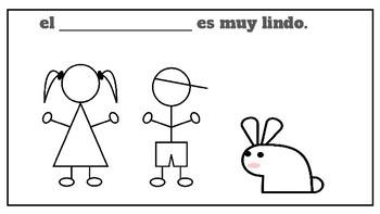 el conejo booklet book spanish espanol - color -write los animales  rabbit