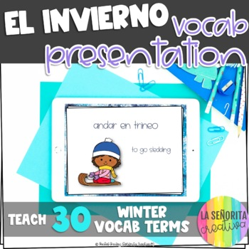 el invierno Vocab Powerpoint with Pictures and Vocab List