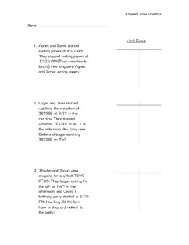 Elapsed Time T Chart Worksheets & Teaching Resources | TpT
