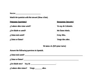 elementary Spanish worksheet - greetings, farewells, polite questions