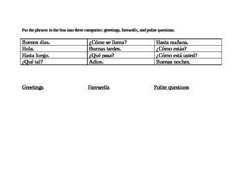 elementary Spanish worksheet - greetings, farewells, polite questions