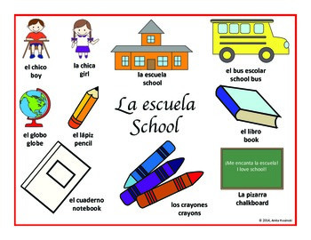 elementary bilingual spanish posters school theme