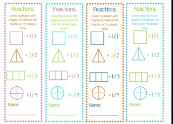 elementary fraction bookmarks