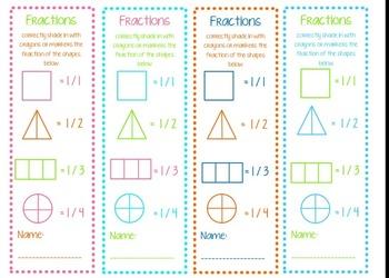 elementary fraction bookmarks