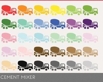 Cement Mixer Digital Clipart, Cement Mixer Graphics, Cemen