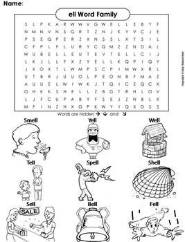 ell Word Family Word Search/ Coloring Sheet (Phonics Worksheet)