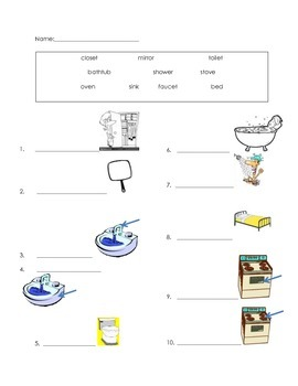 ell spelling picture vocabulary HOUSEHOLD ITEMS test
