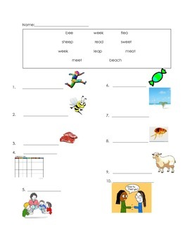 ell spelling picture vocabulary ee.ea long e test